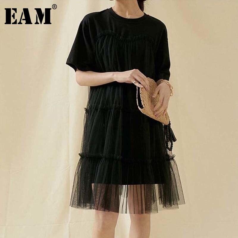 [EAM] Women Mesh Split Joint Temperament  Black Dress New Round Neck Half Sleeve Loose Fit Fashion Tide Spring Summer 2020 1U457