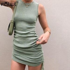 Image 2 - FQLWL zasznurować bandaż lato Mini sukienka kobiety Sundress plisowana Ruched Bodycon sukienka panie Wrap czarny Sexy Party sukienki z dzianiny