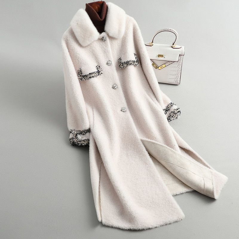 Fur Real 2020 Coat Winter Coat Women 100% Wool Coat Female Mink Fur Collar Sheep Shearling Jacket Manteau Femme 19041