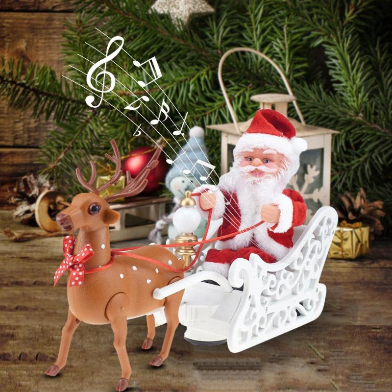 Santa Claus Electric Music Toy Children Elk Sled Christmas Funny Plastic Novelty Originality Box Universal Car Xmas Decor
