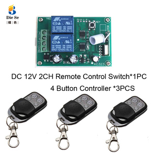 Image 5 - 433MHz Universal Wireless Remote Control DC 12V 2CH Relay Receiver Module RF Switch 4 Button Remote Control Gate Garage opener