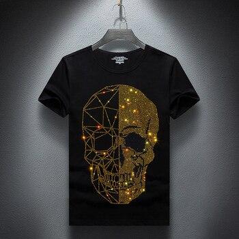 Men T-shirt 2020 Summer Skulls Rhinestones T Shirt Men Brand Short Sleeve Fashion Man Streetwear O Neck Hot drill Cotton Tshirt цена 2017