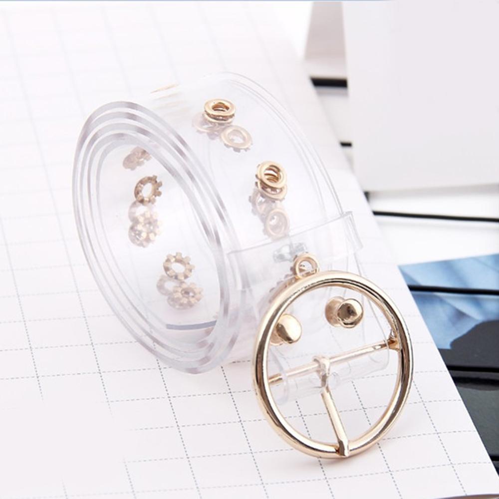 Moda damska przezroczyste żywiczne plastikowe paski 102cm metalowe koło klamra porowate jasne dżinsy dekoracji sukni talii