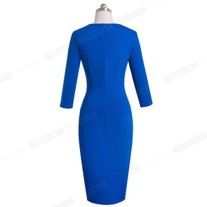 Image 2 - Nizza immer Elegant Reine Farbe Sexy Split Büro Arbeiten vestidos Business Party Bodycon Frauen Kleid B567