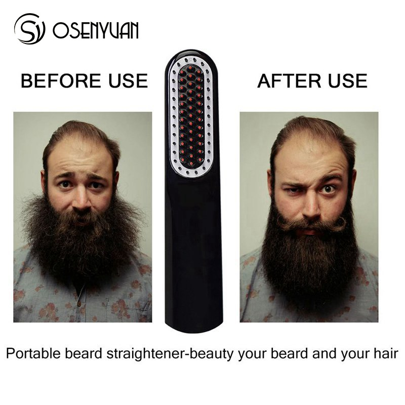 Image 3 - Wireless Men Quick Beard Straightener Styler Comb LCD Multifunctional Cordless USB Hair Straightening Brush Quick Styling Tools-in Straightening Irons from Home Appliances
