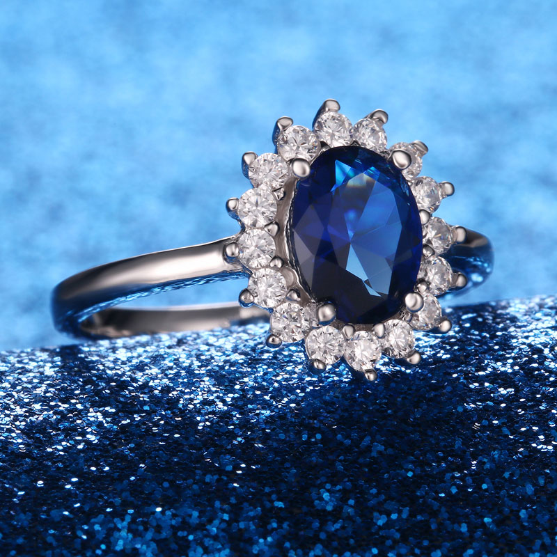UMCHO Luxury Blue Sapphire Princess Diana Rings for Women Genuine 925 Sterling Silver Romantic Engagement Ring UMCHO Luxury Blue Sapphire Princess Diana Rings for Women Genuine 925 Sterling Silver Romantic Engagement Ring Wedding Jewelry