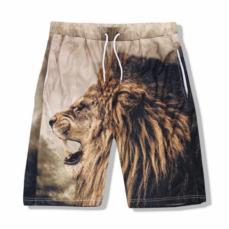 De los hombres de verano chaleco sin mangas short 2 uds conjunto de ropa de playa 3D León cabeza impreso Jogging chándal Casual fuera entrenador trajes de