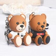 Милый мультяшный медвежонок, брелок, подарки для женщин, девушек, сумка, подвеска, эпоксидный PVCThe, буквенный Шарм, брелок для ключей, ювелирный брелок Porte