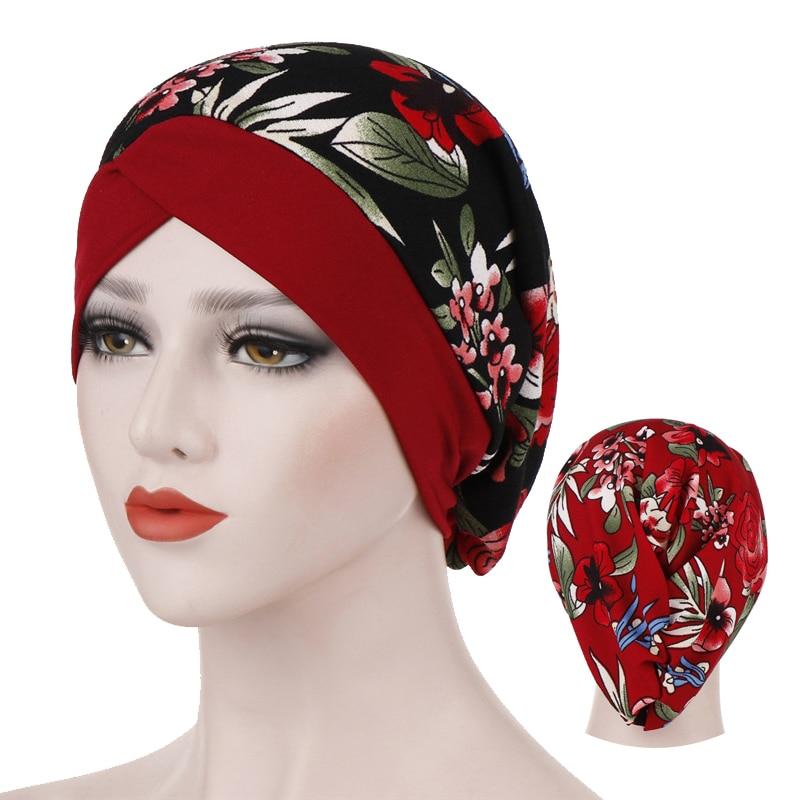 Malaysian Turban For Women Cotton Print Inner Hijabs Forehead Cross Flowers Hijab Bonnet Islamic Wrap Underscarf Turbante Caps