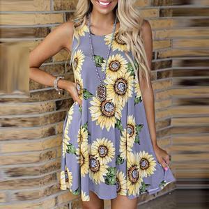 dress Fashion Women's Casual Sunflower Print Sleeveless Summer Sundress Mini Dress Holiday new dress momen zbza платье платье