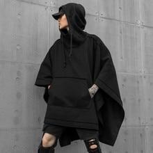 Autumn winter men oversized punk hip hop long hoodie black cape man gothic vintage streetwear hoodies pullover