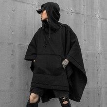 Autunno inverno degli uomini di grandi dimensioni punk hip hop lunga con cappuccio mantello nero uomo gothic vintage streetwear felpe con cappuccio pullover