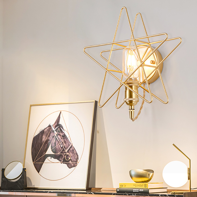 Brass Star Wall Light Nordic Aisle Lamp Staircase Bedroom Head Of Bed Into The House Wall Lamps
