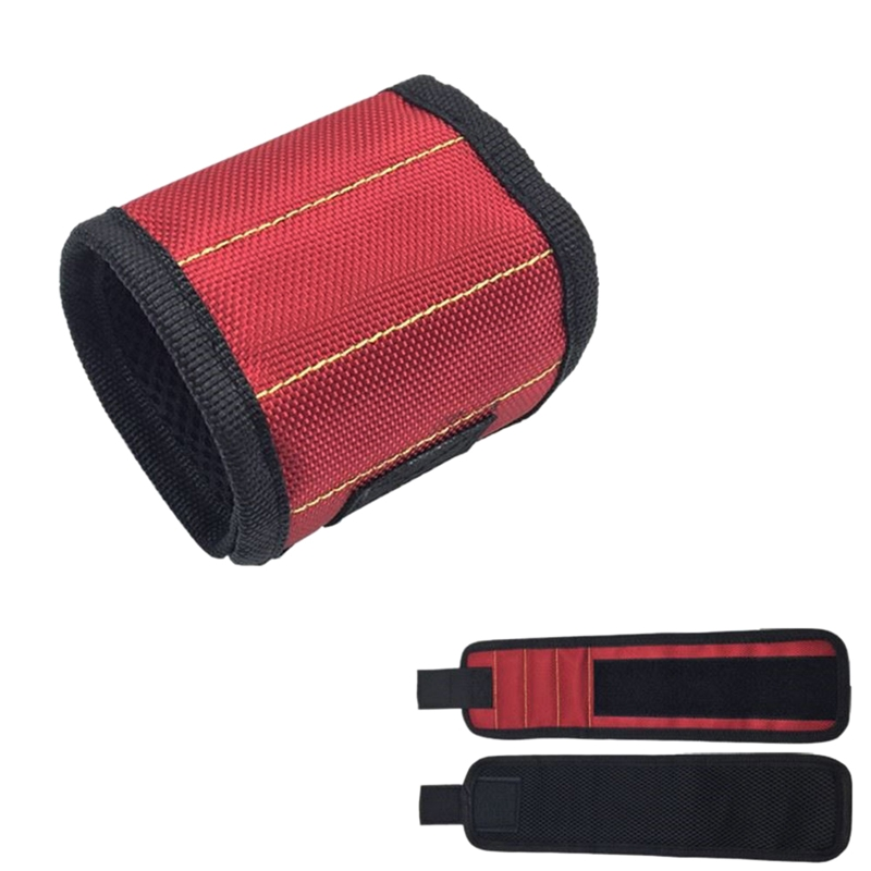 Magnetic Wristband Portable Tool Bag With 3 Magnet Electrician Wrist Tool Belt Screws Nails Drill Bits Bracelet For Repair Too