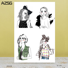 ZhuoAng Fashion girl Transparent seal / sealed DIY scrapbook / album decoration card / seamless seal