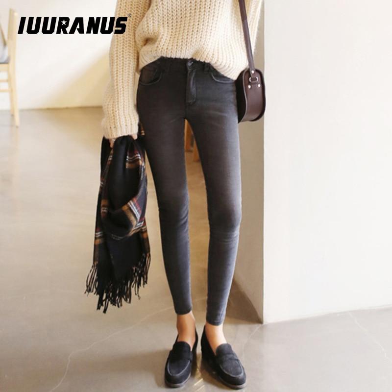 Luuranus 2019 pantalones vaqueros de cintura fina nueve mujeres coreanas gris legging pies lápiz pantalones 9 negro mujer jeans