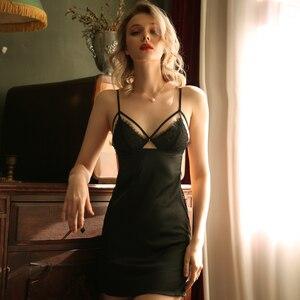Image 3 - שחור כותונת Sleepdress הלבשה תחתונה לנשים הלבשת קיץ חולצה ללא משענת ספגטי רצועה עמוק V חם סקסי שינה ללבוש