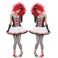 Clown Role Cosplay Costumes New Women Halloween Festival Circus Troupe Stage Performance Terror Lattices Printed Clothing Set