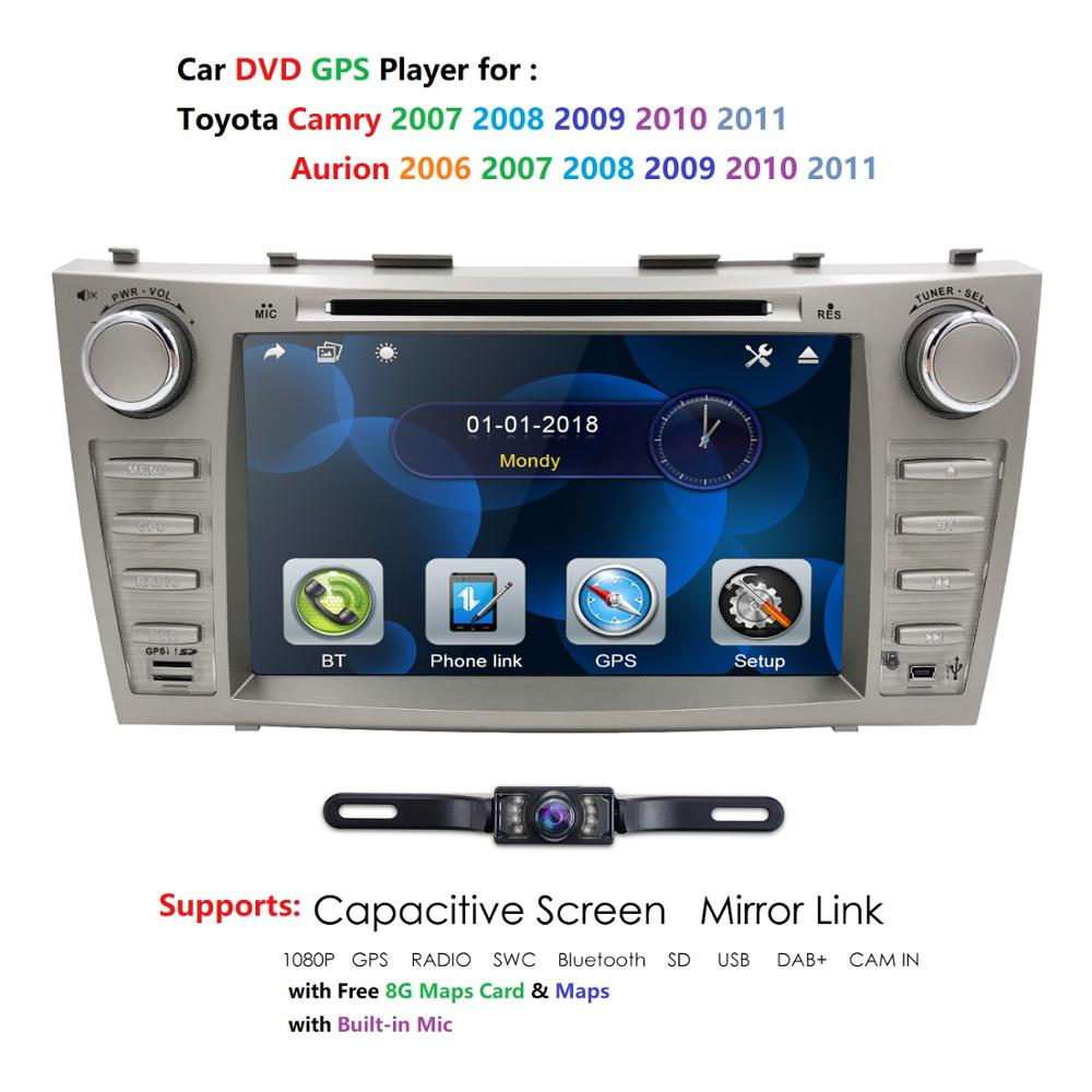 8 Car DVD Player GPS SAT NAVI For TOYOTA Camry AURION Bluetooth gps navigation 2din car Monitor steering wheel RDS DVBT DAB USB