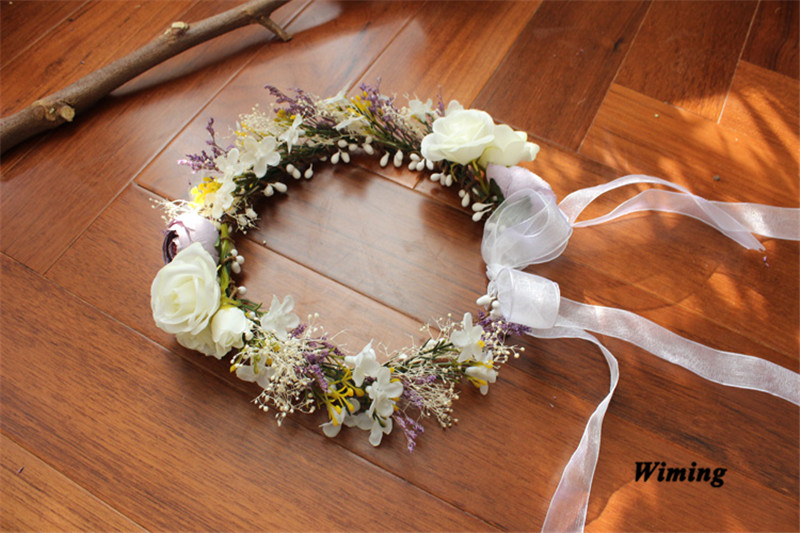 wedding headband head flowers fake rattan Artificial Flower garland Wreath headband and Wedding Hair Wreath headwear in Wreaths Garlands from Home Garden
