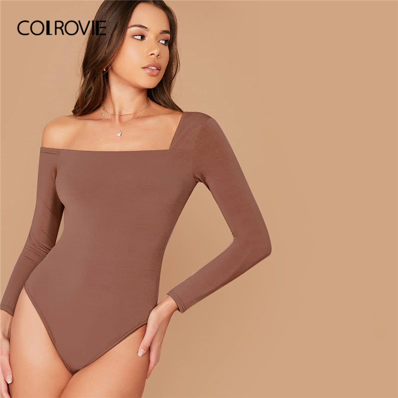 COLROVIE Asymmetrical Neck Solid Bodysuit Women Brown Basics Elegant Skinny Bodysuit 2019 Spring Long Sleeve Sexy Bodysuit