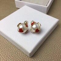Romantic Stud Earrings Woman Heart Lovely Pearl Earrings Party Wedding Jewelry