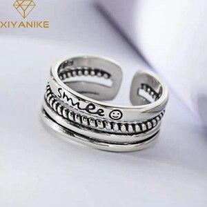 XIYANIKE Открытые Кольца из стерлингового серебра 925 пробы с четырехслойной буквой смайлика для свадебных пар, простые винтажные вечерние ювел...