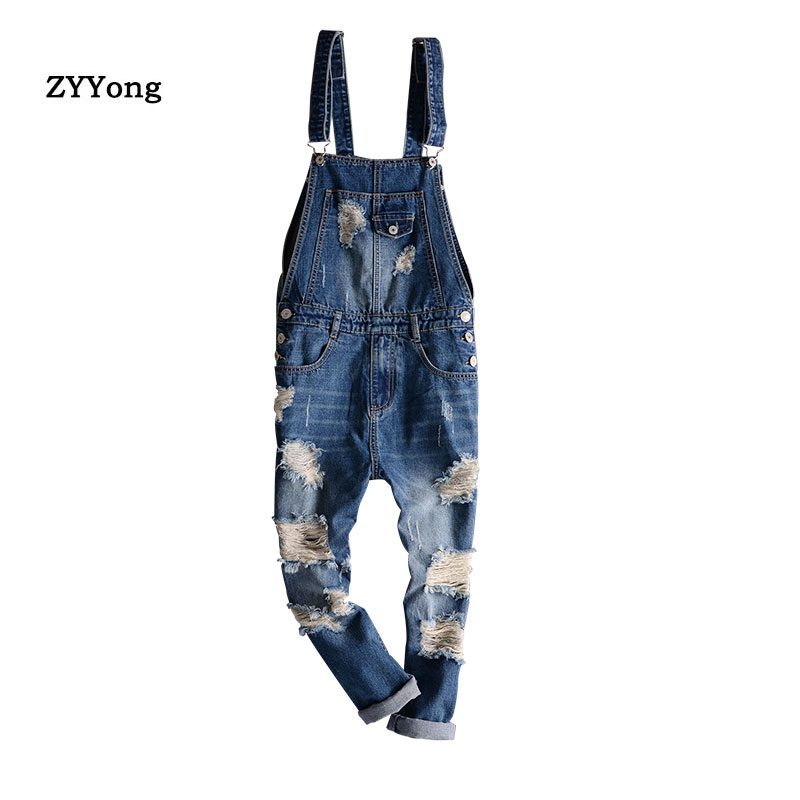 Fashion Men's Ripped Jeans Jumpsuit Men Hip Hop Streetwear Distressed Denim Bib Overalls For Man Suspender Pants Ankle Length