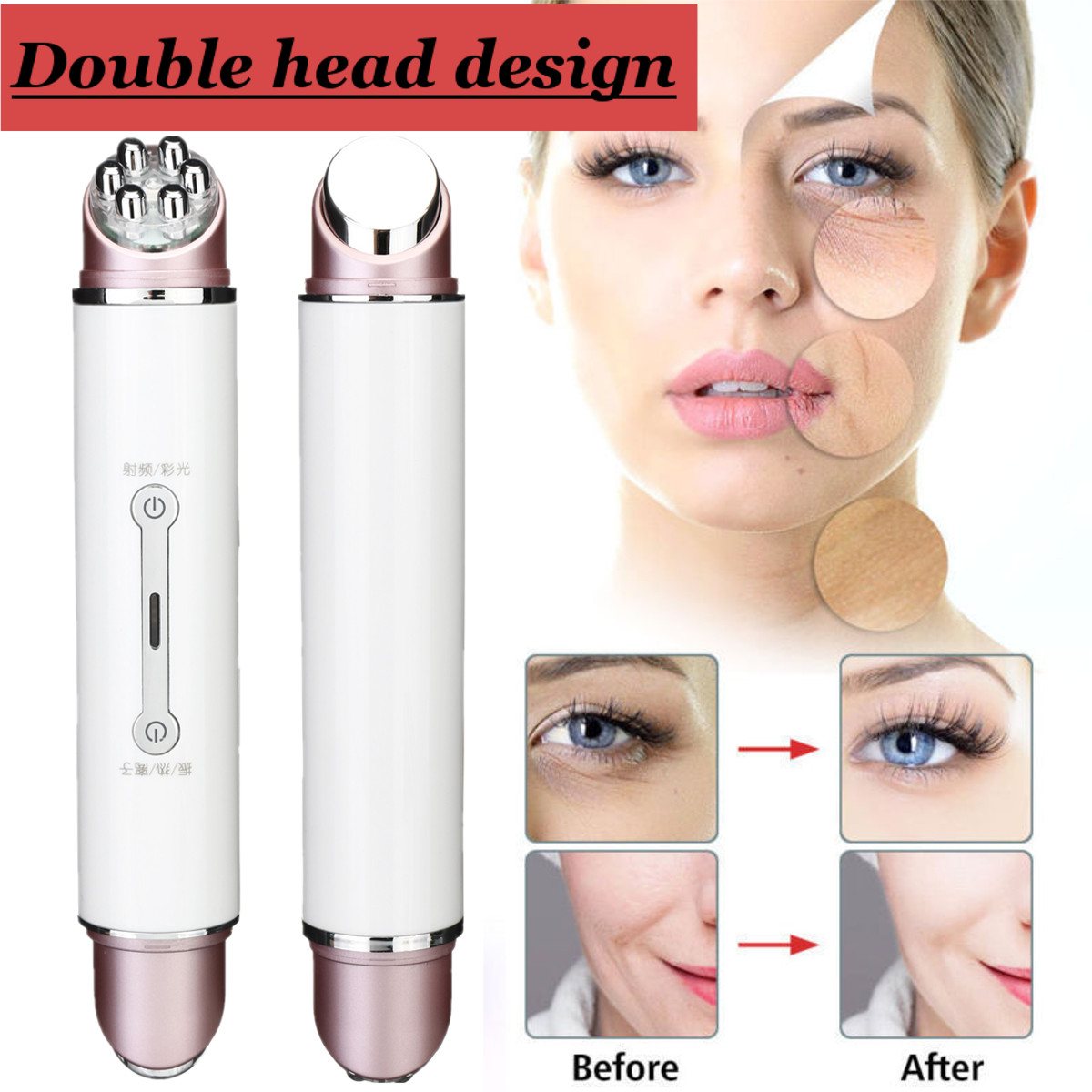 Double Head RF&EMS Radio Mesotherapy Electroporation Face Beauty Pen Frequency LED Photon Face Skin Rejuvenation Remover Wrinkle