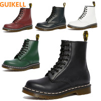 GUIKELL Women Boots Genuine Leather Ankle Martin Boots for Women Casual Dr. Motorcycle Shoes Autumn Winter Couple Shoes