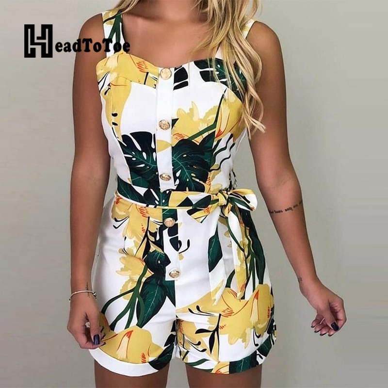 Sleeveless Print Buttoned Design Rompers Women Thick Strap Casual Summer Playsuits Tied Waist Slim One Piece Overalls Beachwear