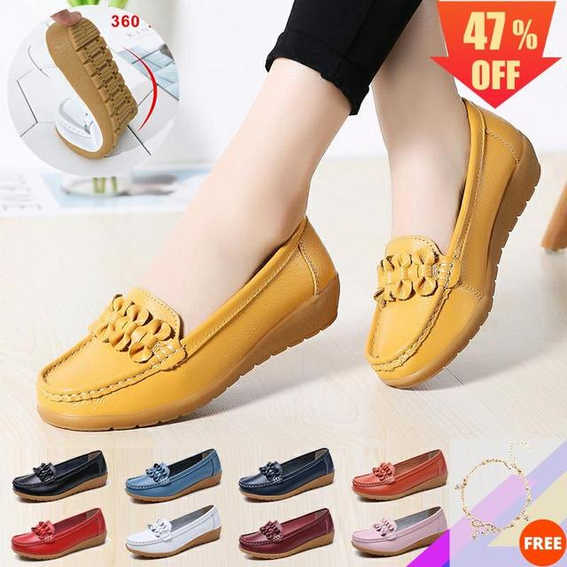 2020 النساء المتسكعون جلد طبيعي حذاء مسطح الباليه الشقق الانزلاق على الإناث الأخفاف فستان كاجوال البازلاء الأحذية واسعة اضافية