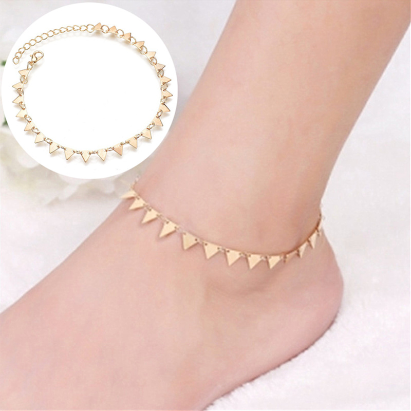 Bohemian Gold Color Triangle Leg Bracelet for Women Beach Triangle Anklet Summer Sandals Barefoot Punk Metal Foot Decoration