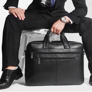 "Image 5 - Large Capacity Black Men Business Computer Briefcase Soft Genuine Leather 17"" Laptop Handbag Male Cowhide For Macbook Pro Air 17"