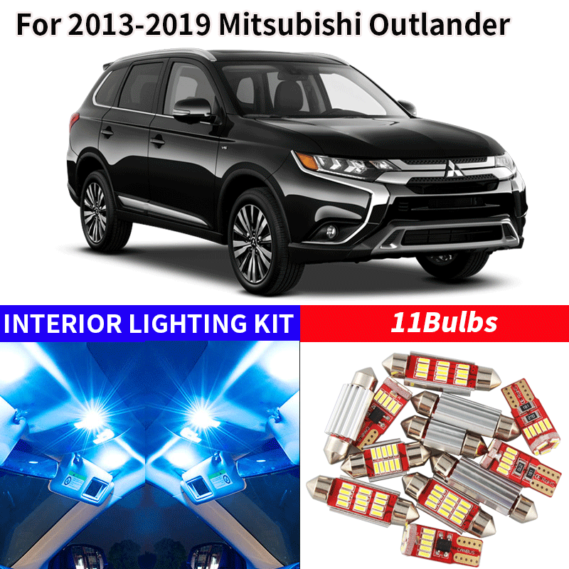 11x Canbus Error Free LED Interior Light Kit Package For 2013-2019 Mitsubishi Outlander Accessories Map Dome Trunk License Light