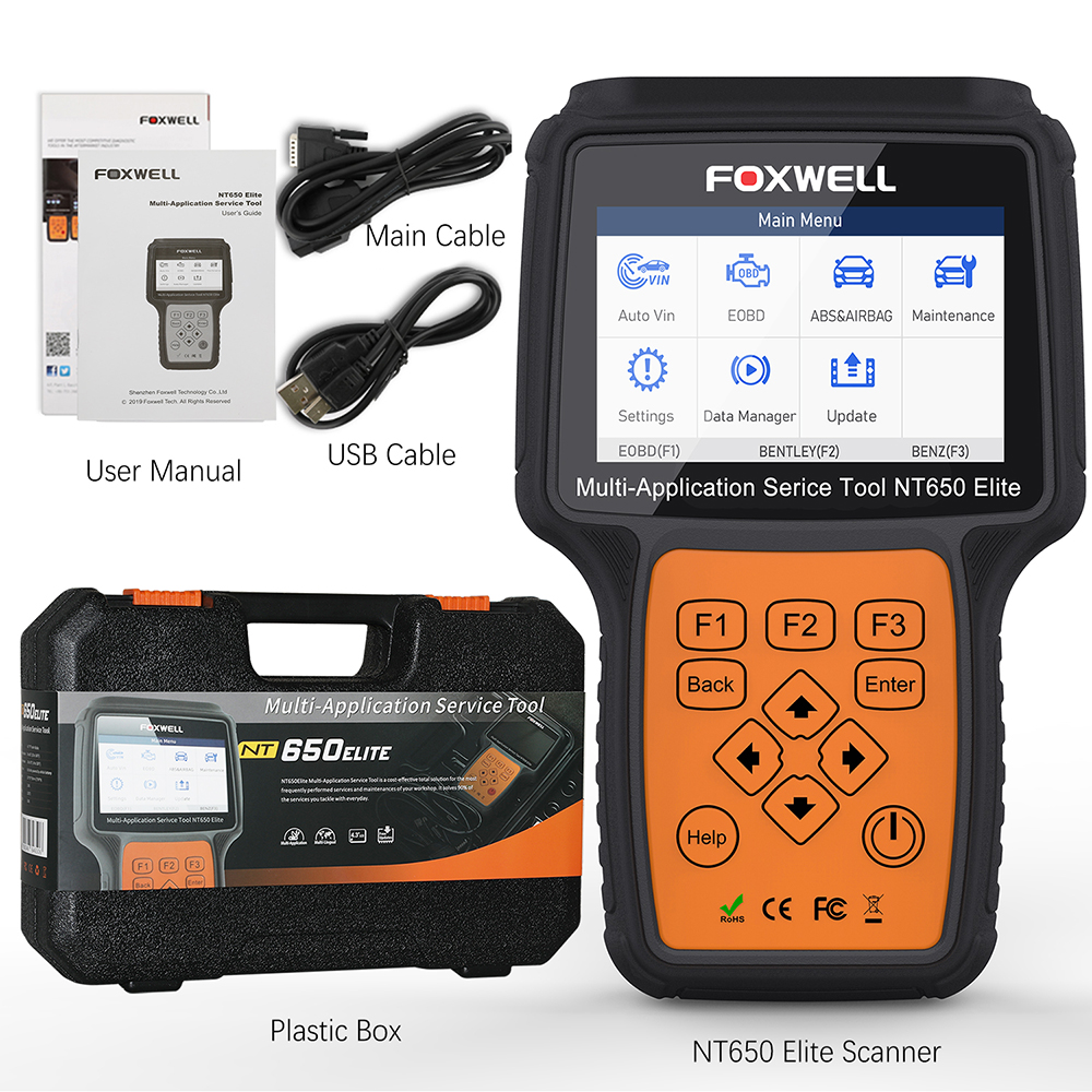 FOXWELL NT650 Elite OBD2 Automotive Scanner ABS SRS SAS DPF Oil Reset Code Reader 18