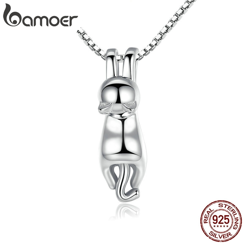 BAMOER High Quality Smooth 925 Sterling Silver Lovely Cat Long Tail Necklaces & Pendants S925 Fine Jewelry SCN032