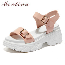 Meotina Sandals Women Genuine Leather Platform Wedge Heels Shoes Female Buckle High Heel Lady Footwear Summer Sandals Beige Pink annymoli sandals women platform wedge high heels shoes round toe buckle high heel footwear ladies summer sandals female beige