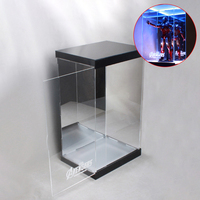 1/6 30cm Action Figure Display Case Dustproof Acrylic Carving Showcase Box with Lights