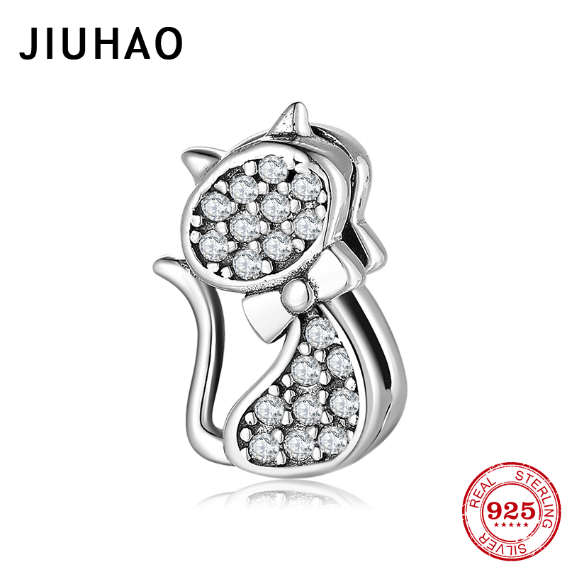 Clear CZ Cute Baby Cat Beads clips Zircon Charm Fit Original Reflection Bracelet Bangles Fashion Silver 925 Jewelry(China)