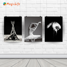 Athletic Ballet Dancing Woman Wall Art canvas painting Nordic B&W Poster Painting Modern wall pictures for living room unframed