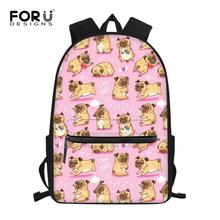 FORUDESIGNS Pink Puppy Pug Dog Print Girls School Bags Cute