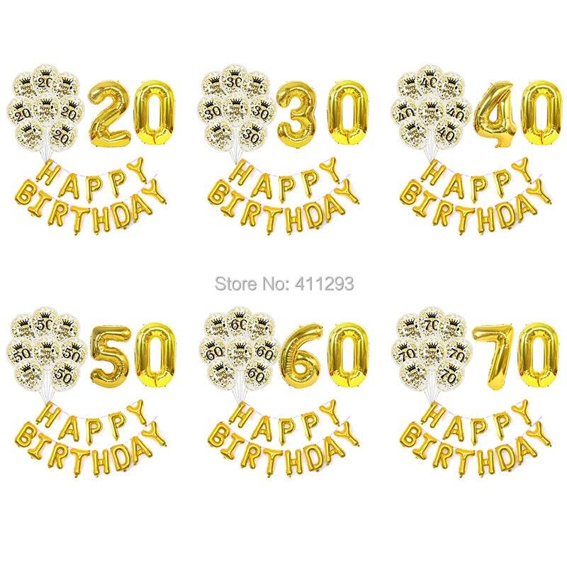 Ballon pour anniversaire or argent 20 30 40 50 60 70, pour décoration de fête pour anniversaire, avec numéros en feuille, bannière pour joyeux anniversaire