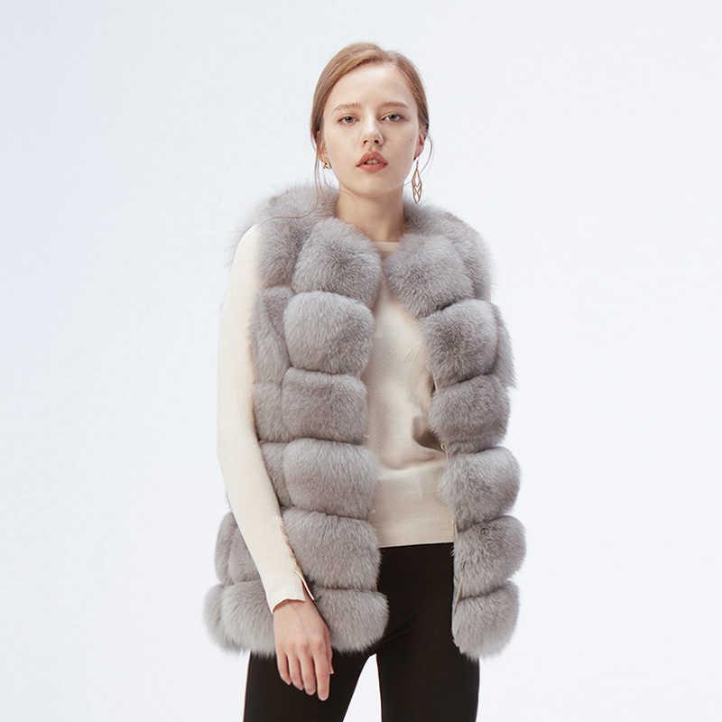 Ethel Anderson klasik gerçek tilki kürk yelek/yelek/kolsuz lüks doğal kürk ceket/uygun sonbahar/ kış giyen