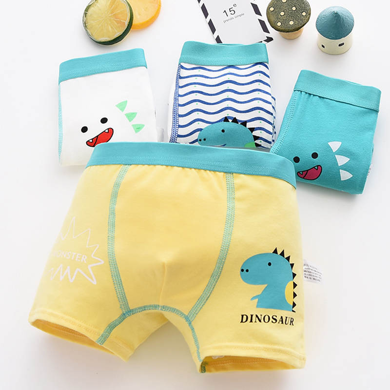 Cute 2019 Toddler Boys Boxer Underwear Kids Cartoon Dinosaur Shorts Panties Soft Cotton Giraffe Comfortable Underpants 4Pcs/pack
