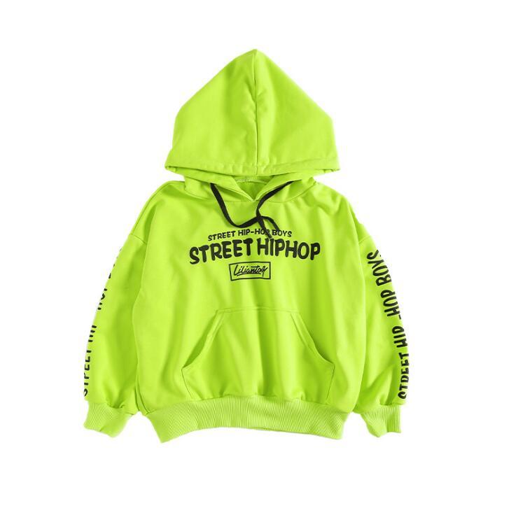 Детская одежда в стиле хип-хоп зеленая Повседневная Толстовка, топы, свободные штаны на лямках для девочек и мальчиков, джазовые танцевальные костюмы бальные танцы, Одежда для танцев - Цвет: Green  Hoodie