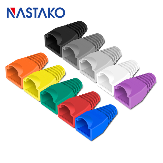 Nastako Cat5 Cat5e Cat6 RJ45 Connector Cap Cover Boot RJ45 Ethernet Kabel Connector Netwerk Modulaire Plug Laarzen 6.0 Mm Kleurrijke