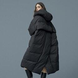 S-7XL размера плюс, зимнее теплое пуховое пальто большого размера, Женская длинная пуховая теплая куртка с капюшоном в стиле кокон, толстые те...