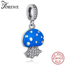 New Original Blue Jellyfish Charm Crystal Beads 100% 925 Sterling Silver Pendant Charms Fit Pandora Bracelets Beads DIY Jewelry(China)