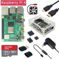Latest Raspberry Pi 4 Model B 1/2/4GB RAM 1.5GHz BCM2711  Case   Fan   Heat Sink   Power Adapter   32 64 GB SD Card   Micro HDMI